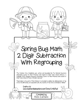 """Spring Bug Math"" 2 Digit Subtraction With Regrouping Comm"