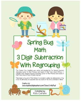 """""""Spring Bug Math"""" 3 Digit  Subtraction Regrouping  - Commo"""