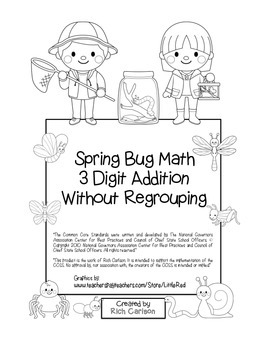 """Spring Bug Math"" 3 Digit Addition Without Regrouping  - F"