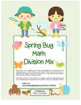 """Spring Bug Math"" Mixed Division –Common Core - Fun! (blac"