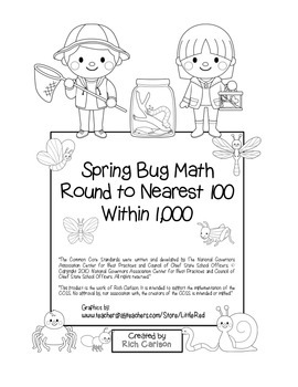 """Spring Bug Math"" Place Value – Round to Nearest 100 Withi"