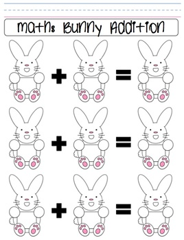 Spring Bunny Addition and Subtraction Worksheet