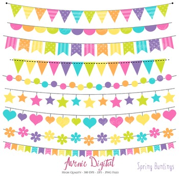 Spring Bunting Banner Clipart Scrapbook Vector Colorful Pa