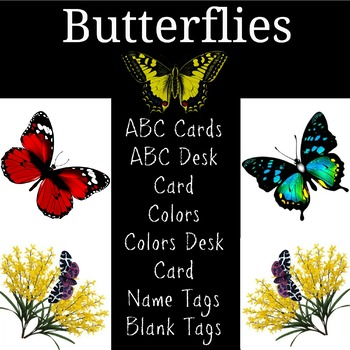 Spring Butterflies ABC Cards, Charts, Name Tags, Colors and More