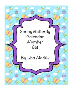 Spring Butterfly Calendar Number Set