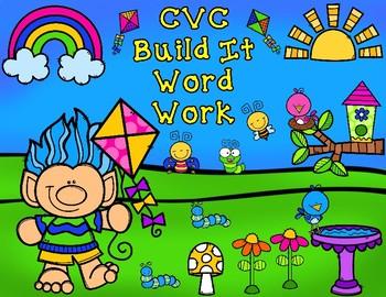 Spring CVC Build It Word Work:  Say It, Build It, Write It