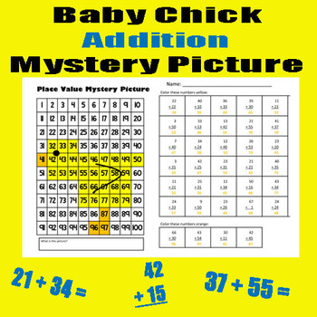 Spring Chick Addition Math Mystery Picture With & Without