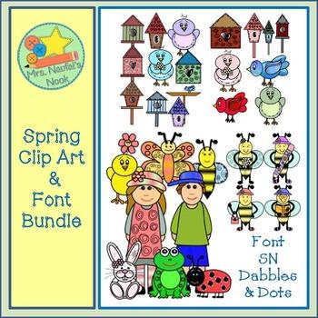 Spring Clip Art & Font Bundle