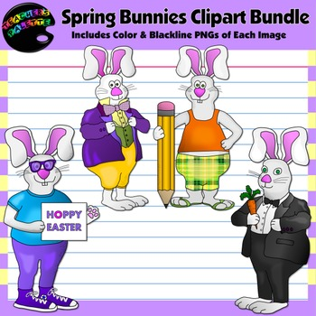 Spring Clipart--Funny Bunnies