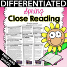 Spring Close Reading: Differentiated Reading Passages & Text-Dependent Questions