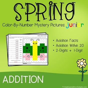 Spring Color-By-Number: Addition (K-2)