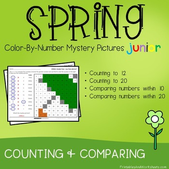 Spring Color-By-Number: Counting/Greater Than/Less Than(K-2)