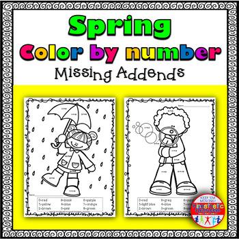 Spring Color By Number: Missing Addends