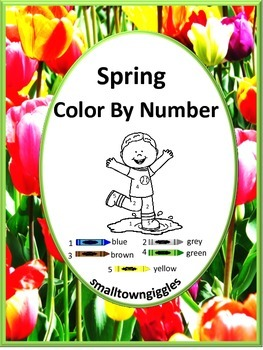 Spring Color by Number Coloring Pages NO PREP Worksheets f
