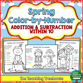Spring Color by Number ~ Addition & Subtraction Within 10
