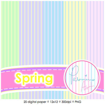 Digital Paper: Spring Colors 20 pages