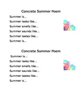 Summer Concrete Shape Poem Prompt