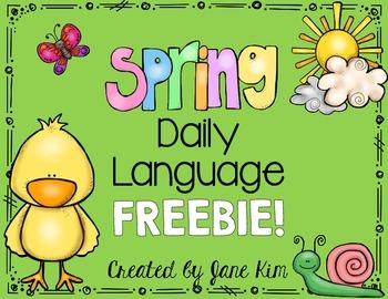 Spring Daily Language FREEBIE! Kindergarten and First Grade