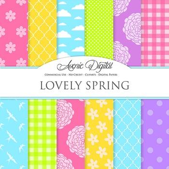 Spring Digital Paper Background Easter patterns polkadots