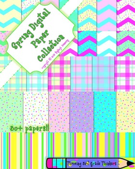 Spring Digital Papers Collection!! Chevron, Polka Dot, Str