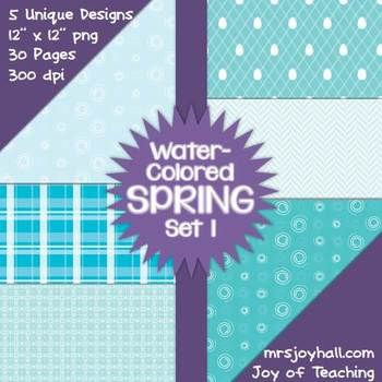 Spring Digital Papers - Water-Colored Set 1