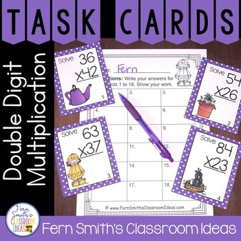 Spring Double Digit Multiplication Math Task Cards