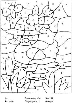 Spring Duck- K-2- Color by Number-El Patito de Primavera