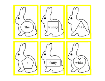 Spring Easter Bunny Rabbit Task Cards Sentence Cut Paste M