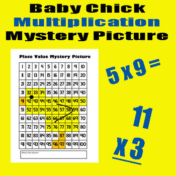 Spring / Easter Chick - Multiplication Math Mystery Pictur