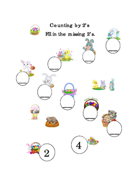 Spring Easter Counting by 2's Mental Math Numbers Up to 20