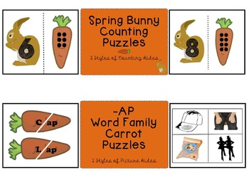 Spring (Easter) Rabbit Counting & Word Family Fun