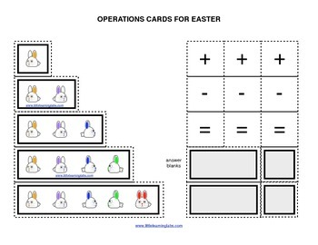 Spring Easter Rabbits operations cards prek primary math a