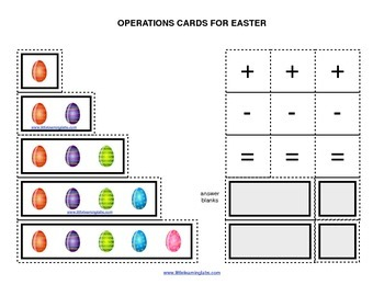 Spring Easter Egg Theme operations cards prek primary math