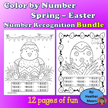 Spring Easter color by number Bundle