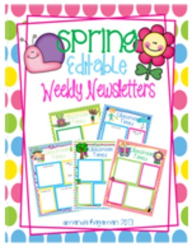 Spring Editable Weekly Newsletters