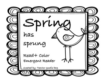 Spring Emergent Reader Book {Read and Color}