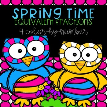 Spring Equivalent Fractions Color-By-Number