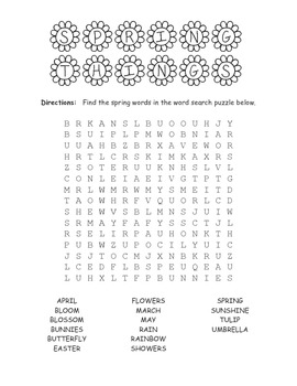 Spring FUN pack - word search, color flowers, word unscramble