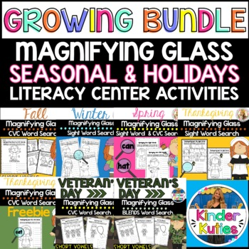 Spring, Fall, & Winter Sight Word Search (Magnifying Glass
