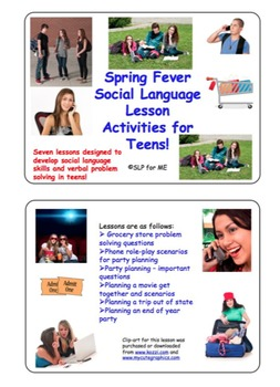Spring Fever - Social Language Lesson Activities for Teens