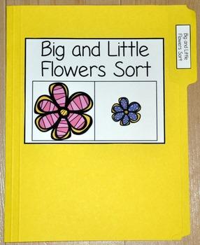 """Spring File Folder Game--""""Big and Little Flowers Sort"""""""