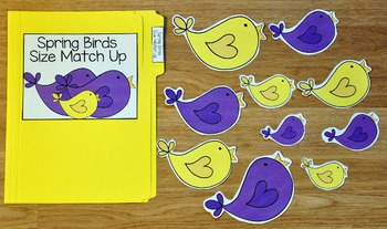 Spring File Folder Game:  Spring Birds Size Match Up