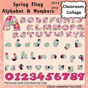 Alphabet and Numbers Clip Art - Spring Fling - capital & l