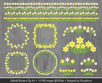 Spring Floral Borders Clip Art, Pink and Yellow Daffodil F