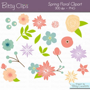 Spring Floral Flowers Digital Art Set Clipart Commercial U