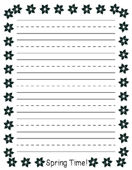Spring Flower Border Primary Lined Paper