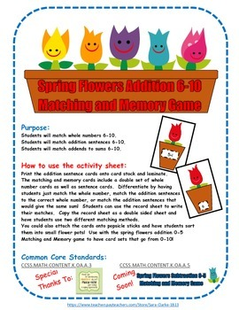 Spring Flowers Addition Memory and Matching 6 to 10