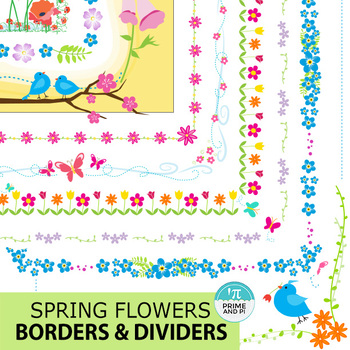 Spring Flowers Borders & Dividers (or Stationary)