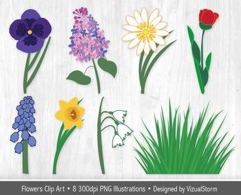 Spring Flowers Clip Art - 8 Popular Spring Garden Flower I