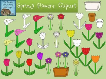 Spring Flowers Clipart {Personal and Commercial Use}
